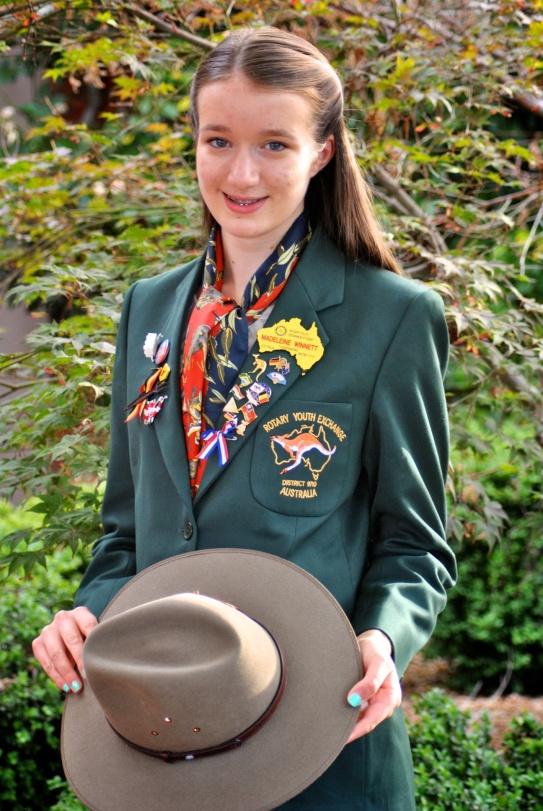 Madeleine wearing her newly presented blazer in 2013