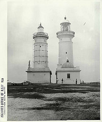 Macquarie Lighthouse [showing original and current lighthouses]